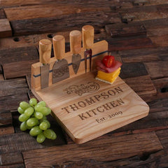 Personalised Square Bread and Cheese Board with Utensils