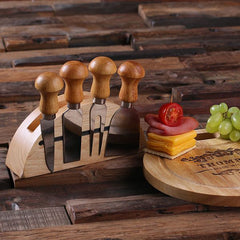 Personalised Round Bread and Cheese Board with Utensils - B