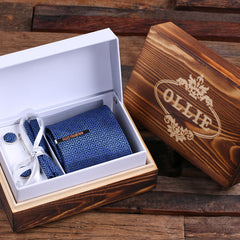 Personalised Gift Set with Tie, Pocket Square, Cufflinks and Tie Bar