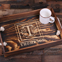 Personalised Rectangle Wood Serving Tray with Rope Handles