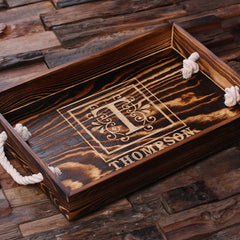 Father's Day Gift - Personalised Rectangle Wood Serving Tray with Rope Handles