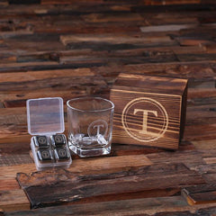 Personalised Whiskey Glass and Ice Cubes Gift Set