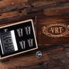 Personalised Gift Set with 210 mL Stainless Steel Flask and 4 Shot Glasses with Box