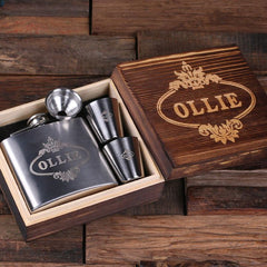 Personalised Stainless Steel Flask and Shot Glass Gift Set - 150mL