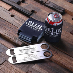 Personalised Beer Holder and Stainless Steel Bottle Opener Set