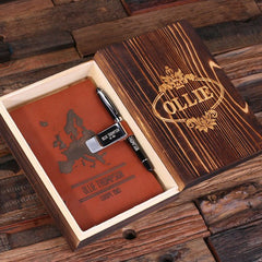 Personalised Leather Diary, Pen and Pen Holder Gift Set