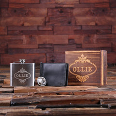 Personalised Gift Set with Flask and Wallet with Box