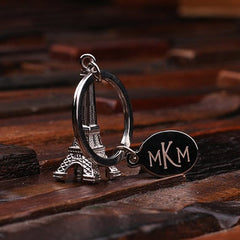 Personalised Stainless Steel Eiffel Tower Key Ring with Gift Box