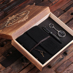 Personalised Gift Set with Journal, Key Ring and Pen with Box