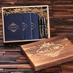 Personalised Gift Set with Journals and Pens with Box