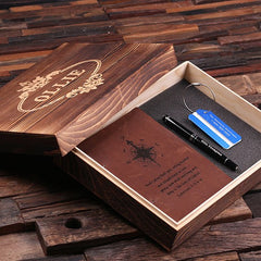 Personalised Gift Set with Journal, Luggage Tag and Pen with Box