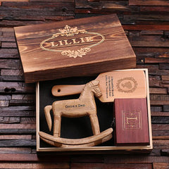 Personalised Gift Set with Brush, Rocking Horse and Treasure Box