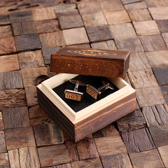 Personalised Rectangle Wood Insert Silver Cufflinks with Box