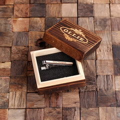 Personalised Wood Insert Tie Bar with Box