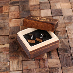 Personalised Rectangle Wood Insert Gunmetal Cufflinks with Box