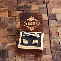 Personalised Square Wood Insert Cufflinks and Square Tie Bar Gift Set