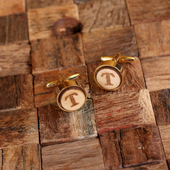 Personalised Round Wood Insert Gold Cufflinks with Box