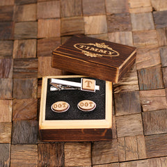 Personalised Oval Wood Insert Cufflinks and Square Tie Bar Gift Set