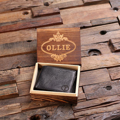 Personalised Black Coin Bi-fold Wallet with Gift Box