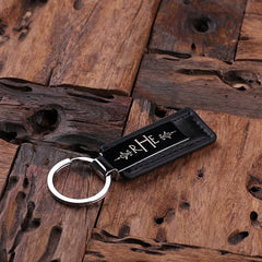 Personalised Leather & Stainless Steel Key Ring