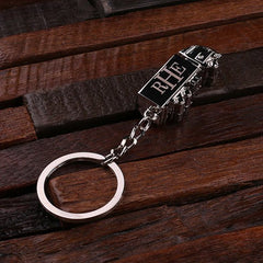 Personalised Stainless Steel Trucker Key Ring with Gift Box