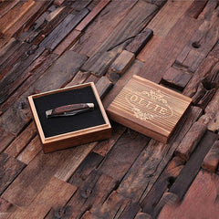 Personalised Three Blade Pocket Knife with Wood Gift Box