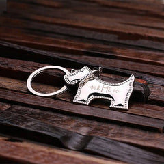 Personalised Stainless Steel Schnauzer Dog Key Ring with Gift Box