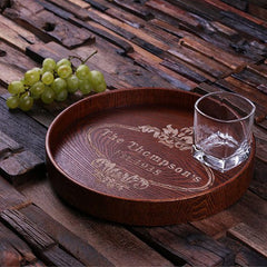 Personalised Round Wood Serving Tray