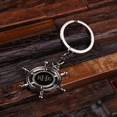 Personalised Stainless Steel Ship Wheel Key Ring with Gift Box