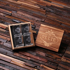 Personalised 4 Shot Glass Gift Set - Square Box