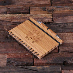 Personalised Spiral Bamboo Notebook and Pen