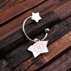 Personalised Stainless Steel Star Key Ring with Gift Box