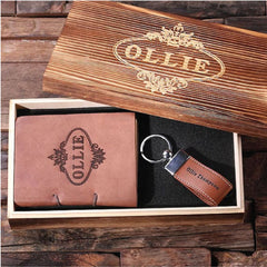 Personalised 2 Pc. Gift Set - Key Chain & Journal with Wood Box