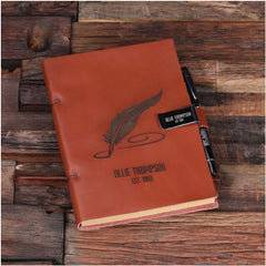 Personalised Leather Diary Sketchbook and Pen with Pen Holder