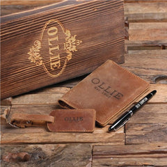 Personalised Engraved Passport Holder, Luggage Tag, Pen and Box
