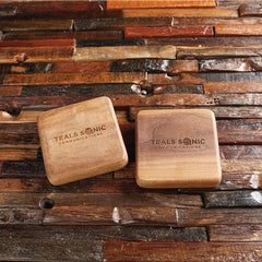 Set of 2 Personalised Thick Square Wood Coasters Corporate Gift Ideas