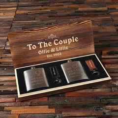 Personalised Couples Gift with Key and Whiskey Flask in a Wood Gift Box