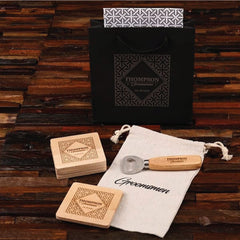 5Pc Bottle Opener & Wood Coaster Groomsmen Gift Set Idea