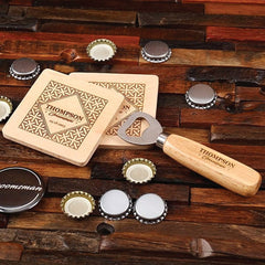 Personalised Wood Coasters & Bottle Opener Groomsmen Gift