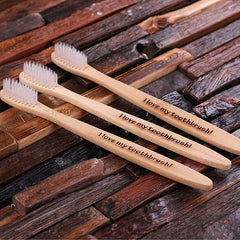 Personalised Three Piece Wood Toothbrush Set