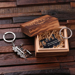 Personalised Stainless Steel Steam Train Key Ring with Gift Box