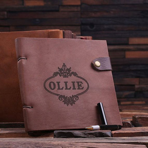 Personalised Leather Journal Set with Wood Gift Box