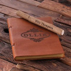 Personalised Leather Travel Journal and Wood Pen Set