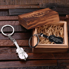 Personalised Stainless Steel Violin Key Ring with Gift Box