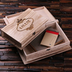 Personalised Wooden Book Keepsake/Jewellery Box - Set