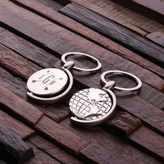 Personalised Stainless Steel World Globe Key Ring with Gift Box