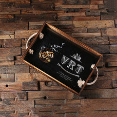 Personalised Printed Rectangle Wood Serving Tray with Rope Handles