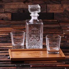 Father's Day Gift - Personalised Rectangle Bar Tray with Decanter and 2 Whiskey Glasses - A