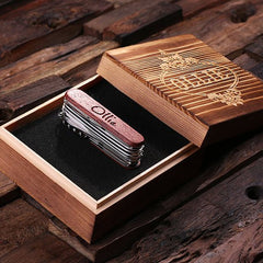 Personalised Swiss Army Ultility Pocket Knife – 13 Tools with Wood Gift Box