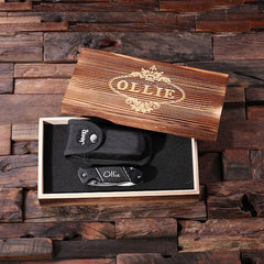Personalised Jeep Utility Knife with Case and Wood Gift Box